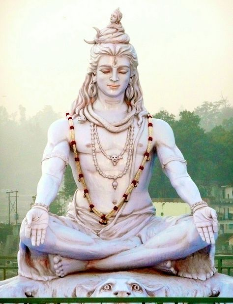 Statue of Lord Shiva Bhagwan On the banks of the Ganges in Rishikesh, India